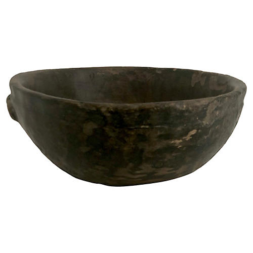 Antique African Hand-Carved Wood Bowl