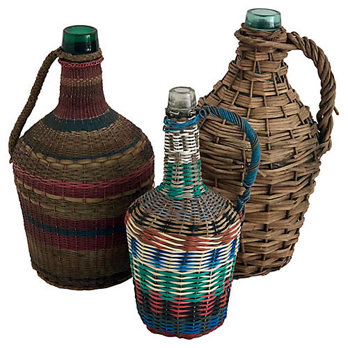 French Wrapped Demijohns, S/3