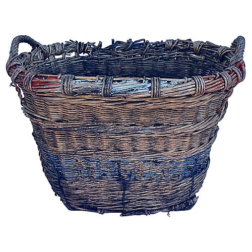 French Champagne Wicker Harvest Basket