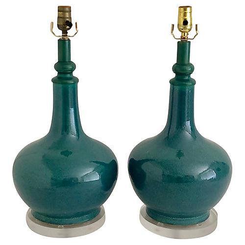 Mid-Century Art Pottery Turquoise Lamps