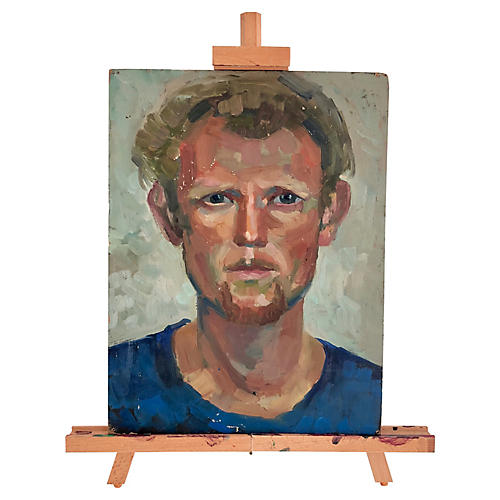 Original 2-Sided Oil Portrait w/ Easel
