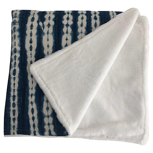 African Indigo Textile & Faux-Fur Throw