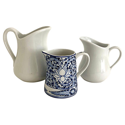 French Ironstone Pitchers, S/3