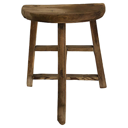 1900s Chinese Rustic Elm Low Stool