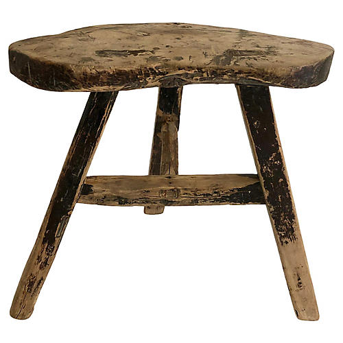 Antique Rustic Chinese Elm Low Stool