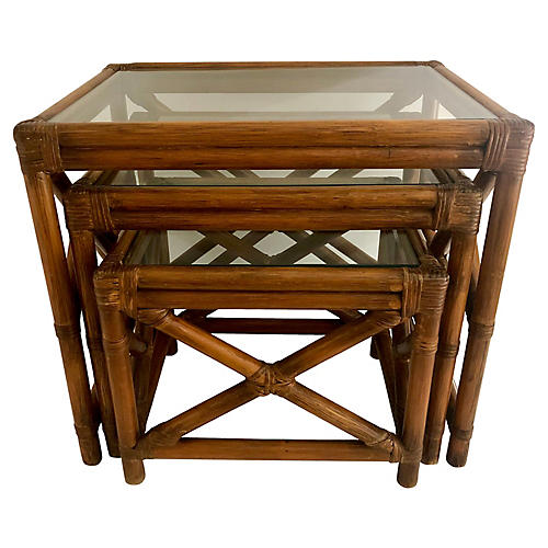 Bamboo Glass-Top Nesting Tables, S/3