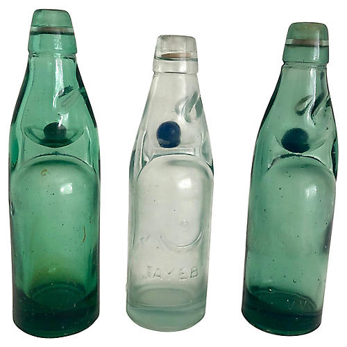 Codd Neck Soda Bottles, S/3