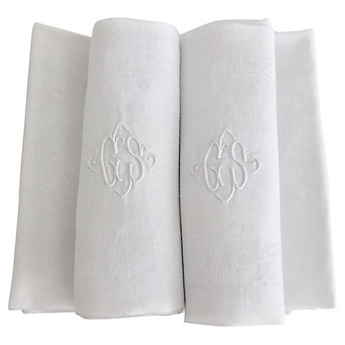 Antique French White Linen Napkins, S/7