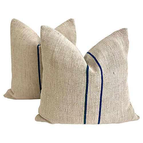 Belgian Grainsack Pillows, Pair