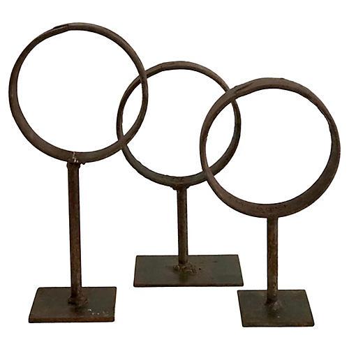 Steel Industrial Rings on Stands, S/3