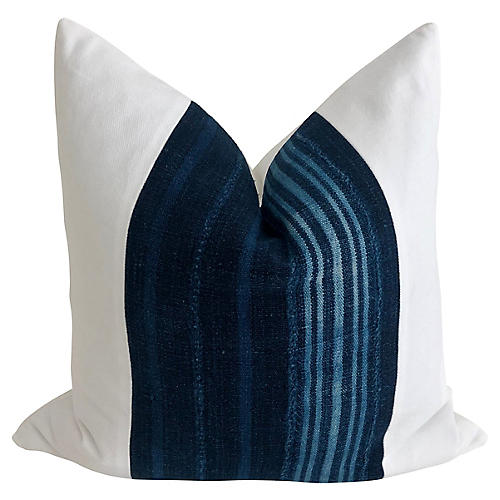 African Indigo & White Twill Pillow
