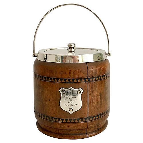 English Oak & Silver Biscuit Jar