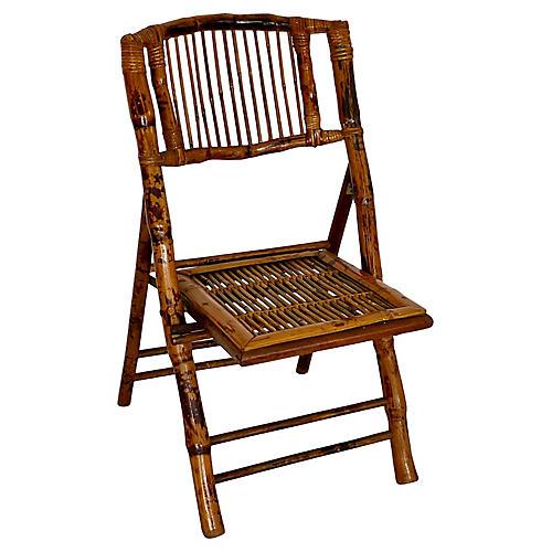 Midcentury Tortoiseshell Bamboo Chair