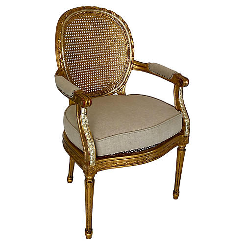 Antique French Gold-Leaf Caned Armchair