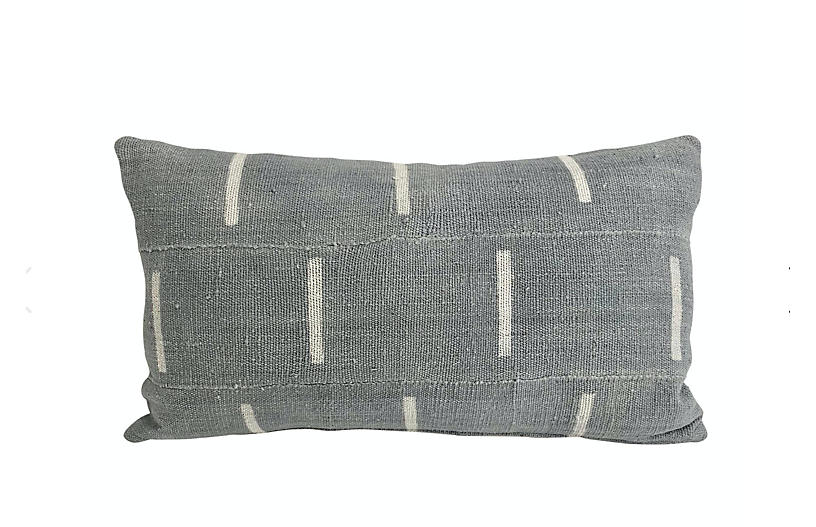 Mali Gray Mudcloth Lumbar Pillow