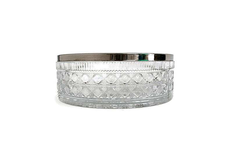 English Silver Rimmed Crystal Bowl
