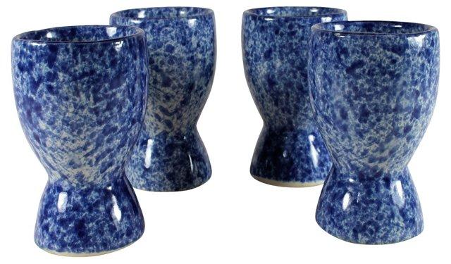 Blue & White Spongeware Egg Cups, S/4