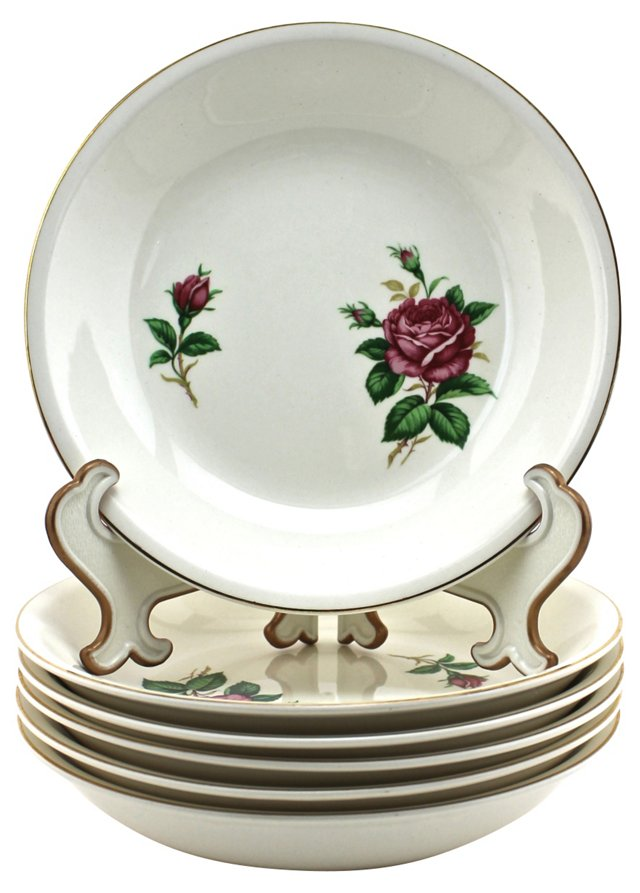 Midcentury Red Rose Soup Bowls, S6