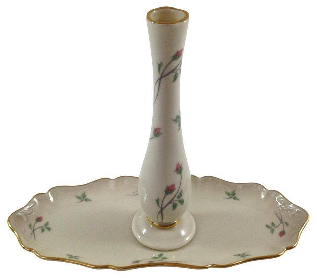 Rose Manor Vanity Tray & Vase, Pair