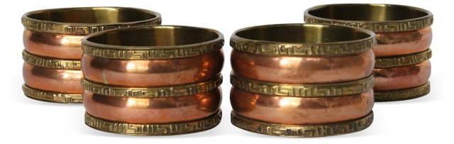 Copper & Brass Napkin Rings, S/4