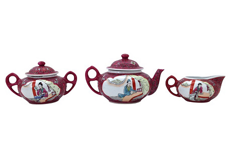MunShou Rose Porcelain Tea Set, 5 Pcs
