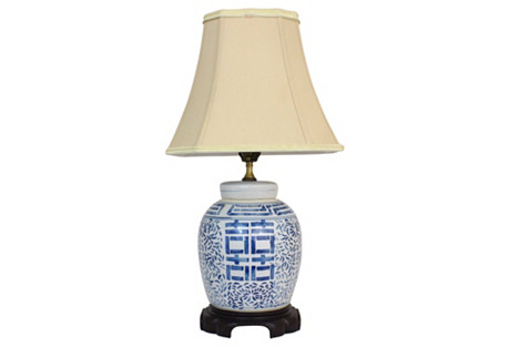 Blue & White Double Happiness Lamp