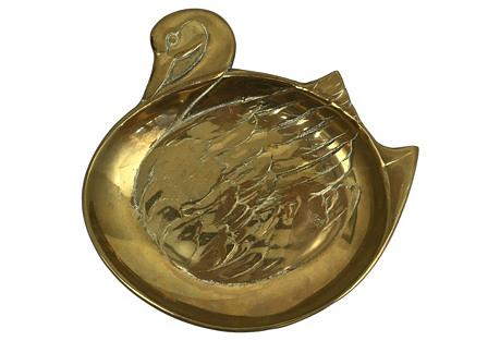 Large Brass Swan Catchall Dish