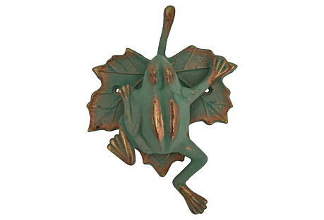 Green & Gold Frog Door Knocker