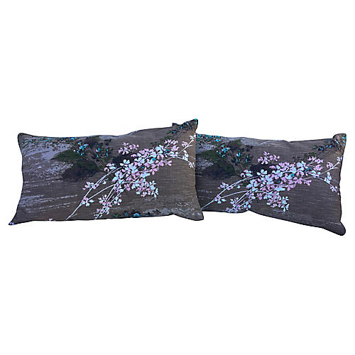 1960s Floral Barkcloth Pillows, Pair