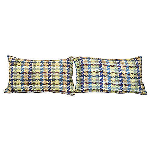 Abstract Modern Woven Pillows, Pair