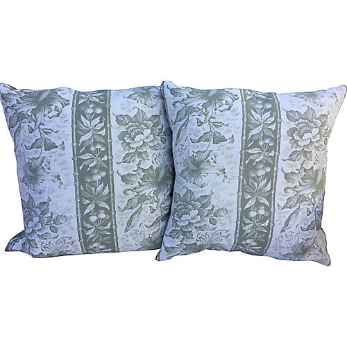 Bennison Bamboo Lily Pillows, Pair