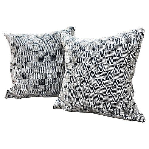 Chenille Navy/Cream Check Pillows,Pair