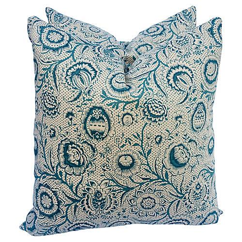 Bennison Blue Woodcut Pillows, Pair