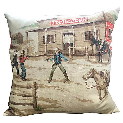 1950s Tombstone Barkcloth Pillow