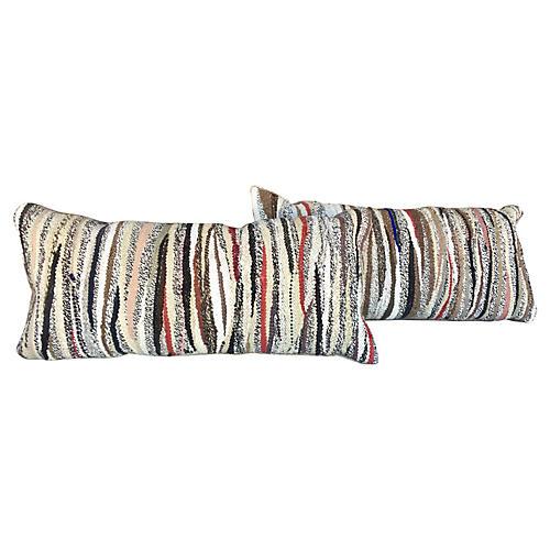 Dhurrie & Velvet Lumbar Pillows, Pair