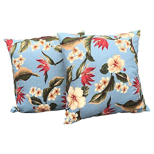 Floral Hibiscus Barkcloth Pillows, Pair