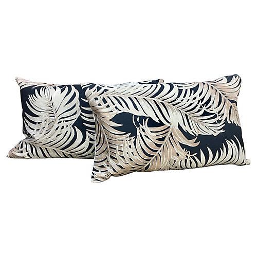 Palm Barkcloth Lumbar Pillows, Pair