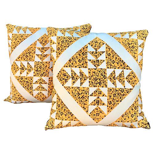 Flying Geese Barkcloth Pillows, Pair