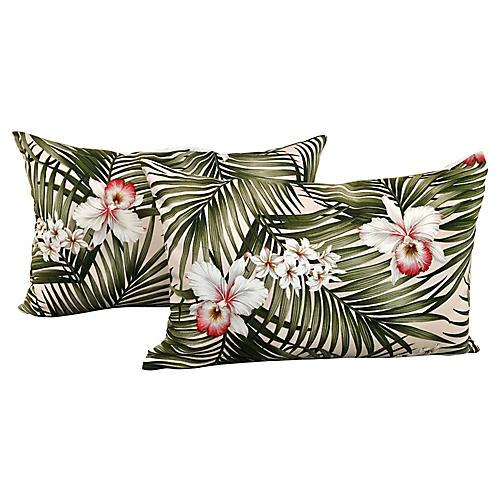 Fronds & Lilies Pillows, Pair