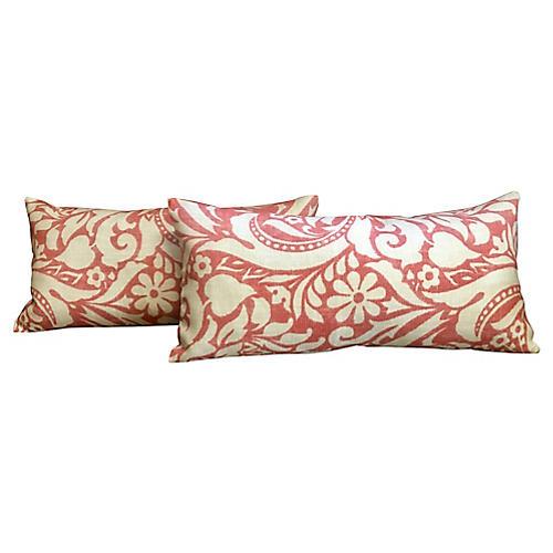 Coral Damask Lumbar Pillows, Pair