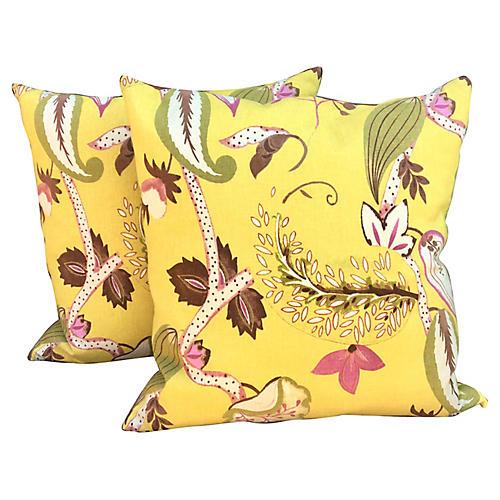 Floral Paisley Linen Pillows, Pair