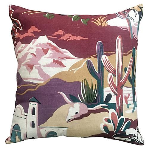 Retro Southwestern Landscape Pillow
