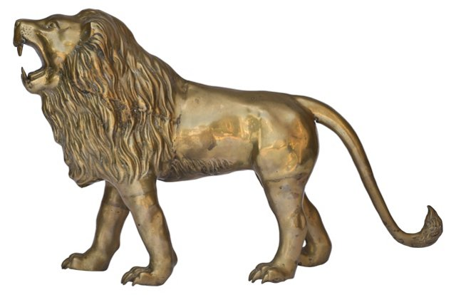 Monumental 1970s Brass Lion Sculpture