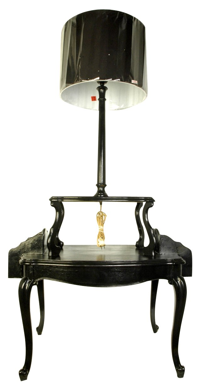 Black Table & Attached Lamp