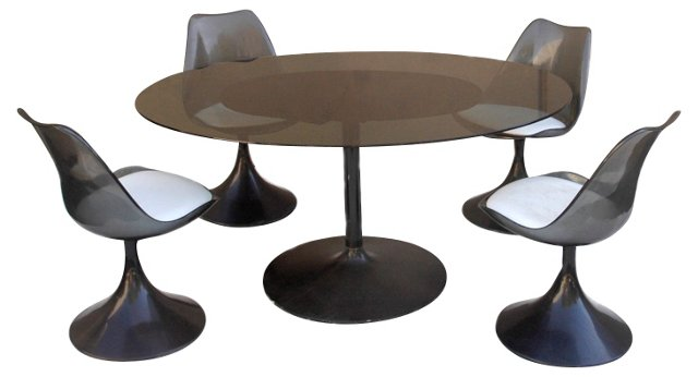 Oval Glass Dining Table & Chairs, S/5