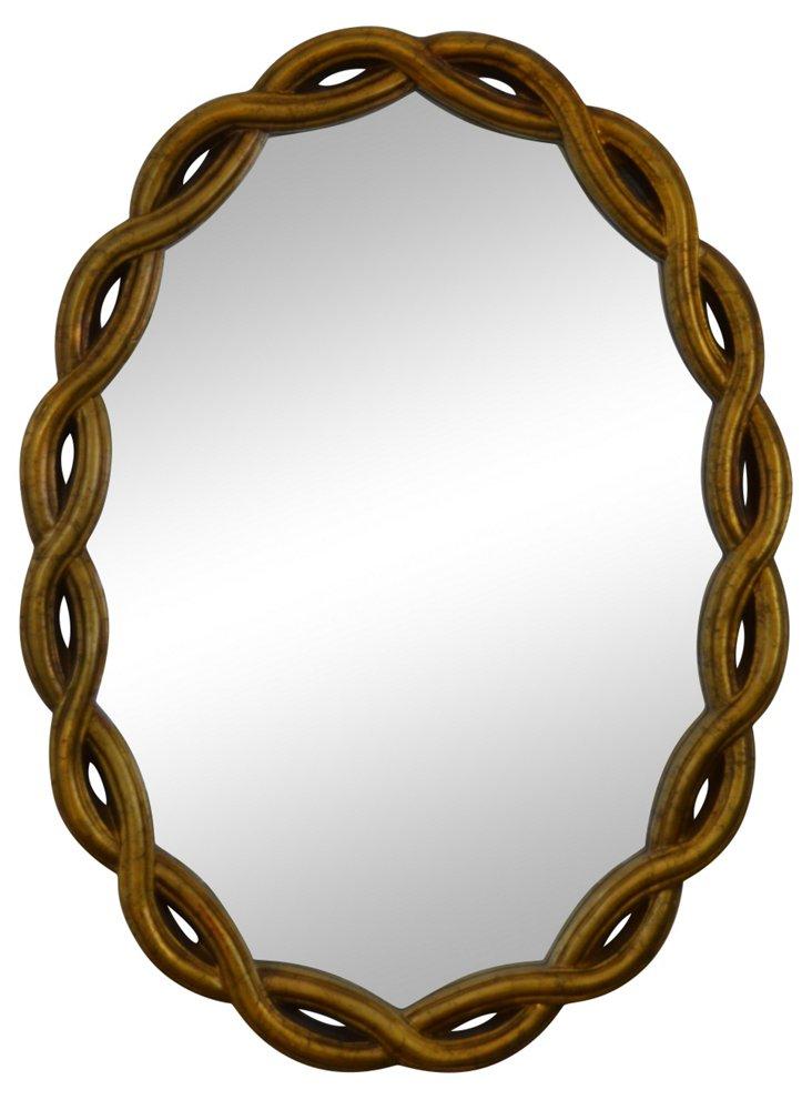 Giltwood Braided Mirror
