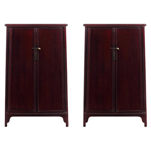 Chinese Side Cabinets, Pair
