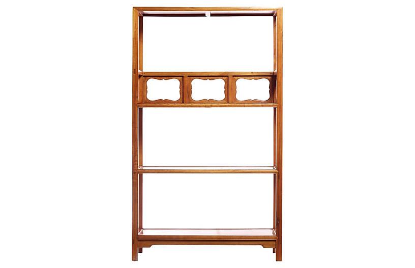 Carved Panel Elm Bookcase