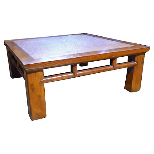 Coffee Table w/ Woven Rattan Top
