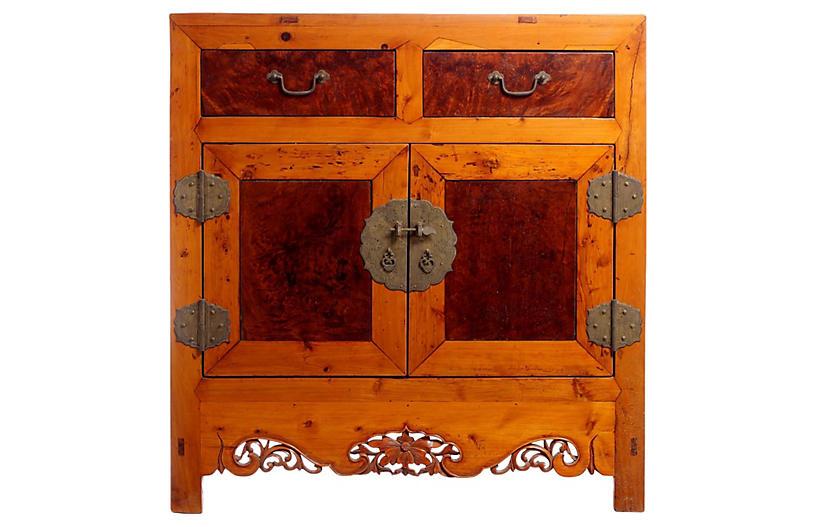 Elm & Burl-Wood Cabinet